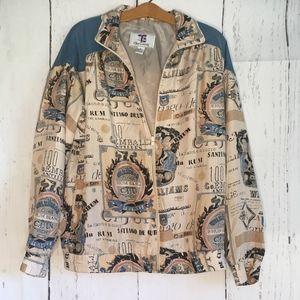 Oleg Cassini Jacket 100% Silk SZ M Long Sleeve